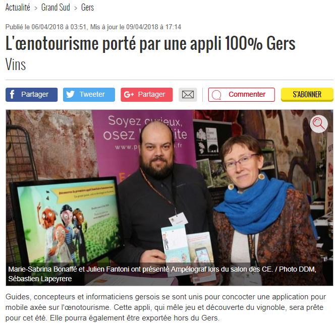 Article 6 avril 2018 - Dépêche du Midi Gers