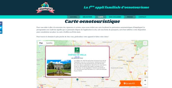 carte de localisation des partenaires d'Ampélograf - fiche château de Viella